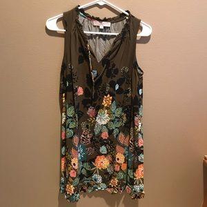 Olive Green Floral LOFT Dress